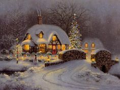 Think this is a painting by Thomas Kinkaid, painter of light, beautiful cottage scene More