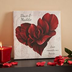 """What a beautiful art print! It's the """"Blooming Heart"""" canvas print that you can personalize with any 2 names, any special date and a special sentiment below... this is a great wedding gift, anniversary gift or just a cute romantic gift for someone you love! It's only $32.95 at PersonalizationMall"""