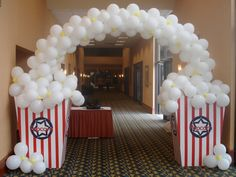popcorn balloon arch - for movie night sleepover!  make containers out of cardboard boxes. Even a mini arch would be cute!!!