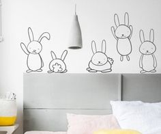 The tallest bunny is approximately high. When placed next to each other they can cover an area of 55 x Vinyl Art, Bunnies, Wall Decals, Toddler Bed, Bedroom, Baby, Sticker, Range, Furniture