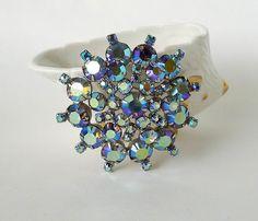 "Huge Vintage Juliana Brooch Continental Blue AB Pin Aurora Borealis Rhinestone Brooch 2 5/8"" Wedding Brooch - Vintage Jewelry Pin - pinned by pin4etsy.com"