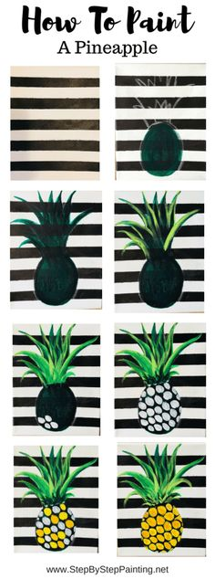 Step by step painting pineapple Easy beginner acrylic canvas tutorial I first painted the canvas white For the stripes I used painters tape and mars black in between the tape lines pineapple stepbysteppainting # Easy Canvas Art, Cute Canvas Paintings, Easy Canvas Painting, Simple Acrylic Paintings, Acrylic Painting Tutorials, Acrylic Painting Canvas, Diy Painting, Watercolour Painting, Painting Techniques
