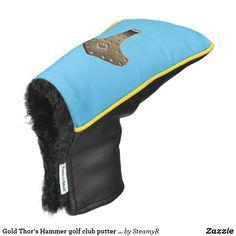 Gold Thor's Hammer golf club putter cover Golf Shoe Bag, Golf Shoes, Cozy Cover, Golf Putters, Thors Hammer, Golf Accessories, Golf Fashion, Golf Ball, Golf Clubs