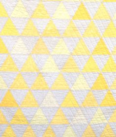 Equilateral Triangles Crib Quilt by Carson Converse Studio modern baby bedding kid-s-bedroom Quilting Projects, Quilting Designs, Sewing Projects, Sewing Ideas, Quilting Ideas, Modern Baby Bedding, Yellow Quilts, White Quilts, Two Color Quilts