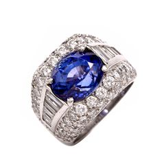 Certified Sapphire Diamond  White Gold Cocktail Ring