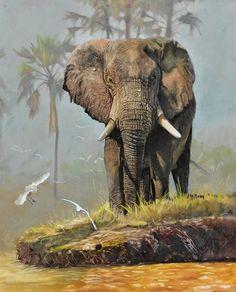 Large Custom Elephant Painting - From your photo - any single elephant portrait. Wildlife Paintings, Wildlife Art, Animal Paintings, Elephant Photography, Animal Photography, African Tattoo, Elephant Art, Elephant Stuff, Afro Art