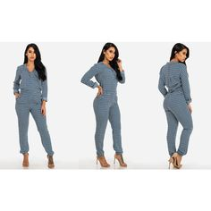 Women's ModaXpressOnline.com Printed Long Sleeve Button-Up Jumpsuit ($20) ❤ liked on Polyvore featuring jumpsuits, blue, dresses, blue jump suit, jump suit, blue jumpsuit, long sleeve jump suit and long sleeve jumpsuit