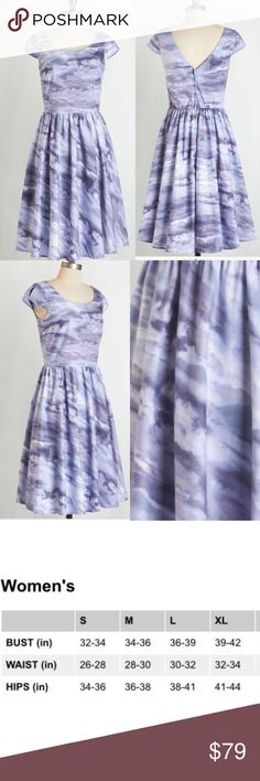 ❌Price Firm unless Bundled❤️ Modcloth clouds dress Cloud print scoop neck dress with elastic at back waist. Zipper opening at back. 100% Cotton Made in USA.                                                                    🚫modeling  🚫trades (askers will be ignored) or lowballing  ✅ will consider offers made through BLUE offer button ✅ great bundle discount. ModCloth Dresses