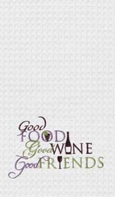 "Good Food Great Wine Good Friends Waffle Weave Kitchen Towel 18"" x 27"""