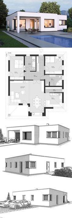 Bungalow Modern Minimalist Style Architecture Design House Plans ELK Bungalow 125 - Dream Home Ideas with Open Floor Layout by ELK Fertighaus - Arquitecture Contemporary European Style Interior Architecture Bauhaus, House Architecture Styles, Architecture Design, Bungalow Living Rooms, Modern Bungalow, Pool House Plans, New House Plans, Design Bauhaus, Bauhaus Style