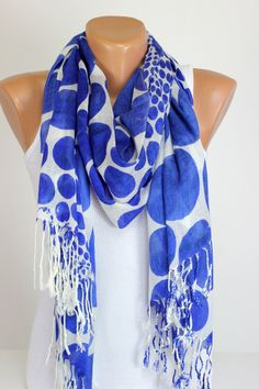 Soft Cotton Scarf Shawl Polka Dots Lightweight Scarf Gift Ideas For Her Blue Scarf White Scarf Echerpe Scarf Viscose Scarf Cover Up Cheap (14.99 USD) by echerpe