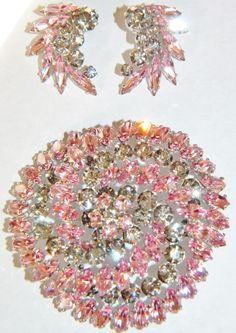 Vintage SHERMAN Pink  Grey Rhinestone Brooch, Earrings Set from jenandivintagejewels on Ruby Lane