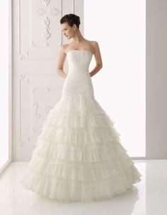 Off-the-shoulder Lace Organza Wedding Dress