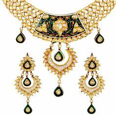 #polki #gold #necklace #set #indian #ethnic #green #color #season #Mehrasons #Jewellers