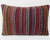 blue decorative pillow 16X24 striped pillows bright lumbar moroccan style cushions moroccan floor cushions lumbar kilim pillow sham 28751