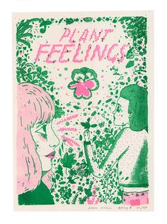 Plant Feelings Risograph Print by ashleyronning on Etsy, $14.00