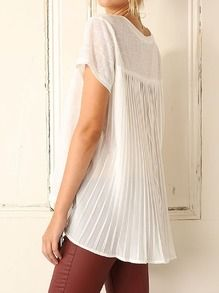 White Short Sleeve Pleated T-shirt