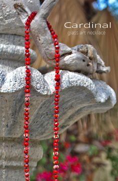 Strawberry Wine Lampwork Necklace by glass artist Jenelle Aubade
