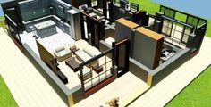 2 Bedroom House plan in Kenya with floor plans (amazing design) - Muthurwa.com Small Modern House Plans, Open House Plans, Bungalow House Plans, Bungalow House Design, Best House Plans, 2 Bedroom House Design, 2 Bedroom House Plans, Studio Apartment Floor Plans, Apartment Plans