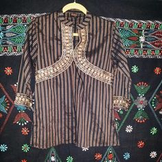 Black Brown and Gold Kurti Indian Top Tunic Never worn, says size L but is American size M. Boho traditional top indian Bangladesh pakistan   Tops Tunics