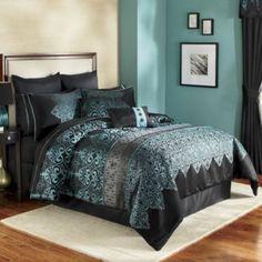 Mischa Teal 10 Piece Embroidered Comforter Set 200.00