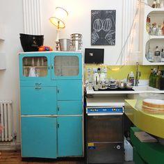 Vintage Blue Kitchen Cabinet - So cute!