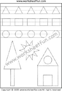 Shape Tracing – Circle, Triangle, and Rectangle – One Worksheet / FREE Printable Worksheets – Worksheetfun Free Handwriting Worksheets, Line Tracing Worksheets, Handwriting Sheets, First Grade Worksheets, Printable Preschool Worksheets, Free Kindergarten Worksheets, Free Preschool, Matching Worksheets, Preschool Learning