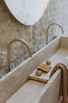 Bathroom Inspiration, Interior Inspiration, Interior Architecture, Interior And Exterior, Modern Interior, White Brick Tiles, Casa Wabi, Douglas And Bec, Green Mosaic Tiles