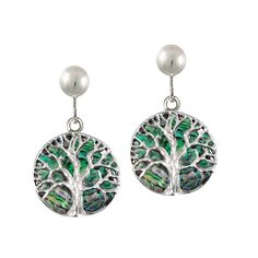 Tree of Life Natural Abalone Sterling Silver Disc Drop Clip On Earrings