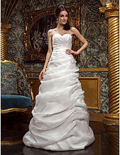 A-line Princess Sweetheart Sweep/Brush Train Organza Wedding... – USD $ 179.99