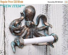 SUMMER SALE Octopus~Toilet Paper Holder~Octopus Toilet Paper Holder~Octopus Decor~Beach~Nautical
