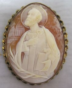 Antique Cameo Saint Jude.  If you know anything about this cameo please post.  Compliments: CharlottsAntiques.com