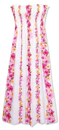 82103845ba strands and strands of pink hibiscus flowers...dream white maxi hawaiian  dress