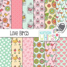 "Valentine's Digital Paper - ""Love Birds"" - spring bird, cage, and floral hand drawn seamless patterns in pink, mint & yellow -commercial use"