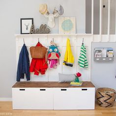 Let's start out with 2 Ikea Stuva Storage Benches and then let Amy from The Mombot show you how she created these fabulous DIY Mudroom Benches. (I love hidden storage : ) We all could use these! So simple…so budget friendly and so wonderful! Enjoy!