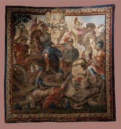 Tapestry with Battle of Arbella from the series of Story of Alexander the Great with coat of arms of Franciszek Salezy Potocki and his wife Anna Elżbieta Potocka by Aubusson manufacture after Charles Le Brun, before 1772 (PD-art/old), Zamek w Pieskowej Skale, from Potocki Palace in Krystynopol