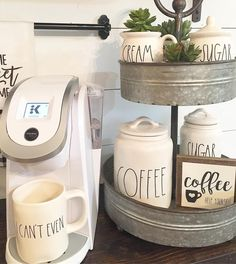 Thank you so much for the tag thecozyfarmhouse the coffee bar mini sign looks adorable next to all your Rae Dunn Clay! Coffee help yourself sign available in the shop