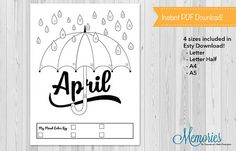 Bullet Journals are a fun way to plan out your year! But it takes so much time! With these bullet template mood trackers you can track your mood all month long! Track the month of April with this monthly mood chart by filling in your mood to color the rain drops and umbrella!