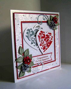 Congratulations / Engagement card - Using Dies from Spellbinders - Grand Squares, Vines of Passion (love this name for a heart), Bitty Blossoms and Foliage, Tonic Studios - Scalloped Squares, DieNamics - FishTail Banners and Crafts Too - Flourish. Embossing folders used are Crafters Companion - A4 Rose Swirls and Spellbinders A4 M-Bossabilities Dainty Dots.