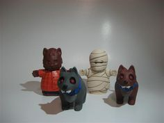 Werewolf, mummy, and the oh so friendly hounds of hell from our Halloween Nativity for only $25 for the whole set while they last!