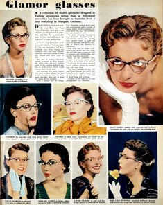 """Vintage eyewear ad: """"Model spectacles designed as fashion accessories rather than as functional necessities..."""""""