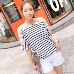 Buy 'CLICK – Crochet Appliqué Dolman-Sleeve Striped T-Shirt' with Free International Shipping at YesStyle.com. Browse and shop for thousands of Asian fashion items from South Korea and more!