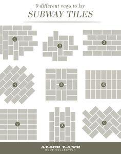 33 Lovely Design Ideas Subway Tile Patterns Backsplash Brokenshaker Com 9 Different Ways To Lay Tiles Shower Kitchen For - Home Design Subway Tile Kitchen, Kitchen Floor, Diy Kitchen, Metro Tiles Kitchen, Kitchen Layout, Design Kitchen, Kitchen White, Kitchen Interior, Modern Kitchens