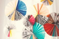 hanging paper fan decoration