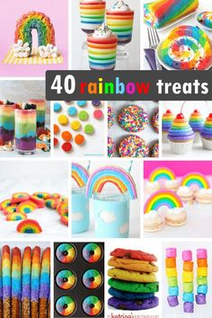 40 RAINBOW FOOD IDEAS: A roundup of rainbow treats and sweets for your rainbow party, unicorn party or St. 40 RAINBOW FOOD IDEAS: A roundup of rainbow treats and sweets for your rainbow party, unicorn party or St. Rainbow Snacks, Rainbow Desserts, 13 Desserts, Rainbow Parties, Rainbow Food, Rainbow Theme, Cake Rainbow, Rainbow Gif, Rainbow Things