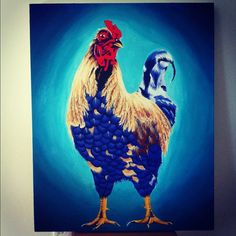 24x30 Orignal Colorful Rooster Acrylic Painting by AndreaRevenant, $455.00