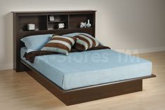 Largest Beds collection: Eliminate the need for a box spring with this contemporary Espresso Platform Bed with Bookcase Headboard - Prepac Furniture. Full Platform Bed, Queen Platform Bed, Bookcase Headboard, Wooden Bed Frames, Beds For Sale, Murphy Bed, How To Make Bed, Bedroom Furniture, Furniture Design