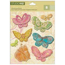 Studio 112 Dimensional Stickers-Candy Butterfly 8/Pkg  1.09