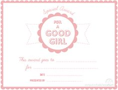 Free Printable Certificates & Awards for Kids  For Good behavior and Kindness