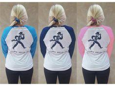 Washburn University Bella Baseball Tee Shirt - White Neon Blue b22da489b